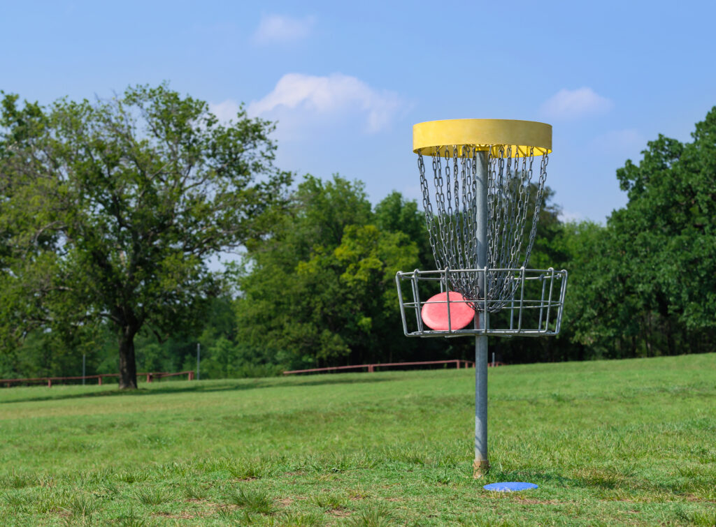 permanent fixed disc golf basket